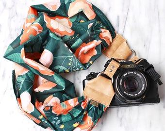 Scarf Camera Strap -- The 'Carmen' -- DSLR Camera Strap with Quick Release Buckles -- Feminine Camera Strap -- Green Floral Camera Strap