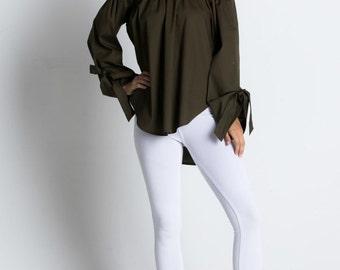 Cold Shoulder Top, Bardot Neckline, Off Shoulder Shirt, Off Shoulder Top, Olive Off Shoulder,Olive Bardot Top,Olive Pixie Top,Pixie Clothing