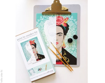 diy paint by number kit | FRIDA with flowers | 8x10 canvas with acrylic paints and brushes