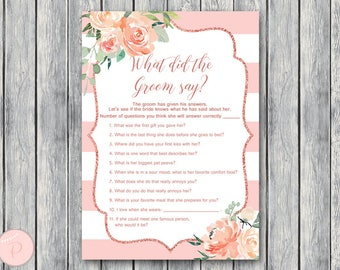 Pink Floral What did the Groom Say Game, What did groom say about Bride, How well couple know each other, Couples shower Game, Bridal TH70