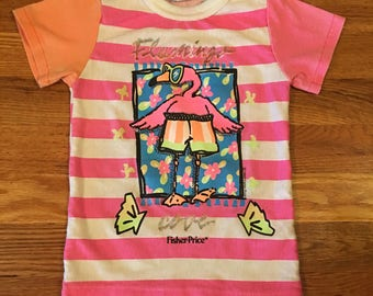 1989 Vintage Fisher Price pink flamingo T-shirt 80s toys 90s tonka barbie doll kids children youth nostalgia cute rare vintage cool htf