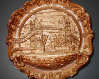 Vintage wall hanging, souvenir London Tower Bridge, solid carved wood log cabin decor