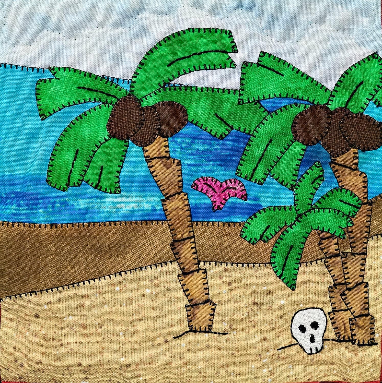 Deserted Island Beach: Desert Island Beach Scene PDF Applique Quilt Block Pattern