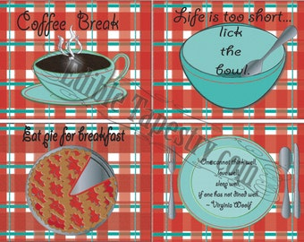 4 Note Cards Printable Vintage 1950s Farmhouse Style Red Green Plaid Retro Kitchen Decor Life is Short Lick the Bowl Cherry Pie Coffee Mug