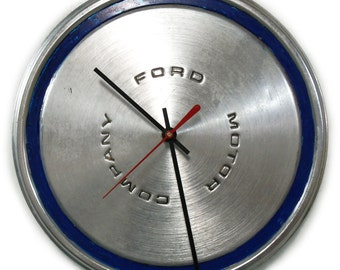 Ford Mustang Wall Clock - 1970 1971 1972 1973 Torino Maverick Hubcap - Hub Cap Mens Decor - Blue - Mens Gift