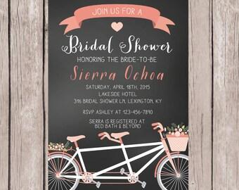 PRINTABLE- Tandem Bicycle Bridal Shower Invitation- Chalkboard Bridal Shower Invitation- Bridal Shower Invitation- 5x7 JPG