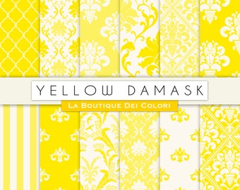 Cute Yellow Damask Digital Paper Set. Yellow Digital Paper Pack of Damask Yellow Backgrounds Patterns for Commercial Use