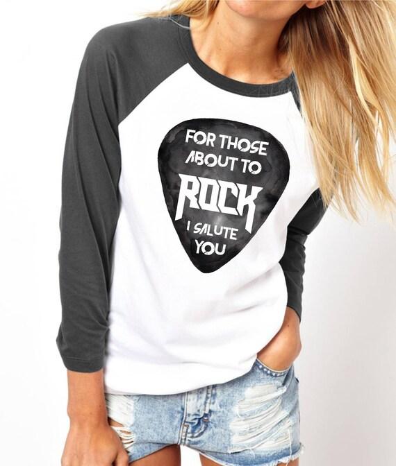 For those about to ROCK! | AC/DC |Unisex Raglan T-Shirt | 3/4 sleeves | Baseball shirt | Guitar Pick | Watercolor | Rock music Tee