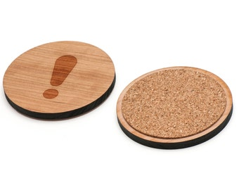 Exclamation Point Wooden Coasters Set of 4, Gifts For Him, Wedding Gifts, Groomsman Gifts, and Personalized