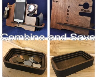 Wooden Valet Stand and matching Mini Valet Tray: Choice of Colours. Keys, Wallet, Phone, Watch, Apple Watch™