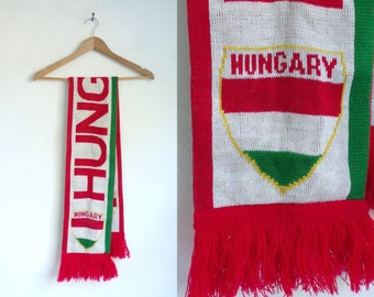 hungary scarf, acrylic scarf, national scarf, country scarf, fall scarf, winter scarf, red green white, national team