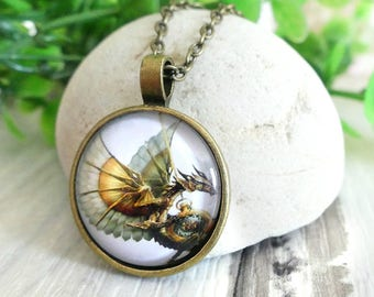 Flying Dragon Necklace, Mythical Creature,  Boyfriend Gift, Dragon Jewelry, Dragon Pendant, Gift Idea for Boys, Best Gift, Gift For Girls