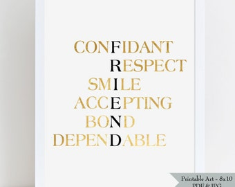 FRIEND Printable Wall Art - Gift for Best Friend - Gold Foil Effect with Black Lettering - Definition of Friend - 8x10 - Instant Download