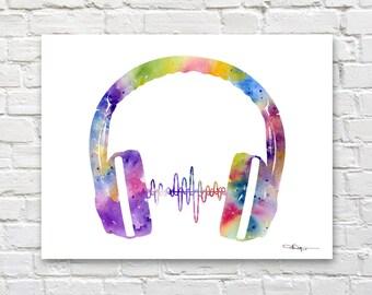 Headphones Art Print - Abstract Watercolor Painting - Wall Decor