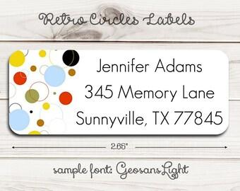 Retro Circles Return Address Labels
