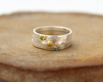 Silver Birthstone Ring. Silver and Gold Birthstone Ring. Silver and Gold Gemstone Ring. Hammered Silver Gemstone Ring Gemstone Stacking Ring