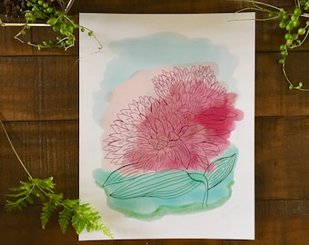 Abstract art print, Flower, Chrysanthemum, plant, watercolor painting, illustrated,  archival,  design