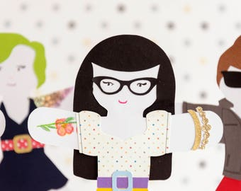 Paper Rockabilly Doll Puppet Craft Kits for Kids and Adults set of 50