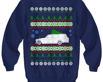 Volvo 122 Wagon Ugly Christmas Sweater Sweatshirt cars holidays swedish gift for volvo owner