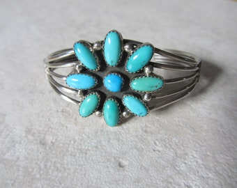 Vintage Southwestern Sterling Silver and Turquoise Flower Cuff Bracelet