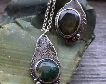 Forest Pendant // Labradorite / Moss Agate / .925 Sterling Silver / Hand engraved forest design / Made in Vancouver, B.C., Canada / Canada