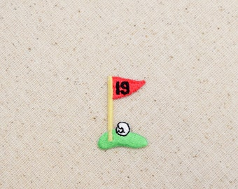 19th Hole - Golf Fairway -Green with Flag - Iron on Applique - Embroidered Patch - WA101