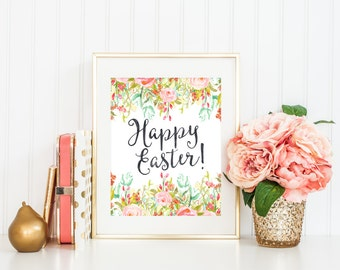 Happy Easter Printable Art Print, 5x7 and 8x10, Watercolor Floral Wreath, Pastel Spring Print, Botanical Print, Happy Spring Home Decor