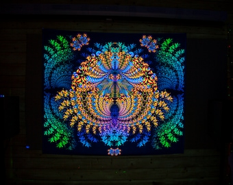 "UV BACKDROP ""Ganeshua"" - Psychedelic trippy tapestry, wall hanging fractal psy decor, psytrance festival banner, uv reactive print fabric"