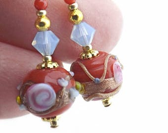 Ornate Floral Pattern Red Glass Bead Earrings, Wedding Cake Bead Earrings with Swarovski Crystals and Gold Bead Accents, Gift for Her