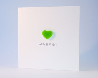 Happy Birthday Card with Lime Green detachable Heart magnet keepsake
