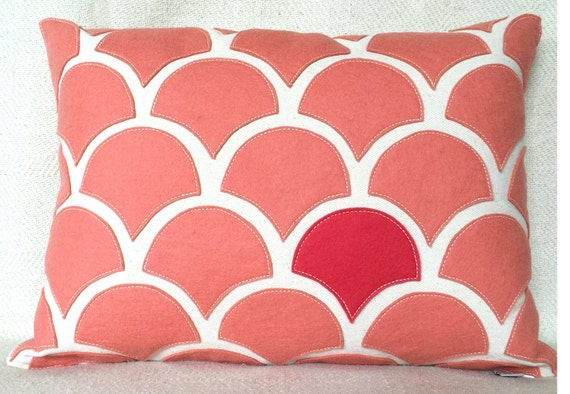 Peach salmon wave pillow with wool felt applique on cotton