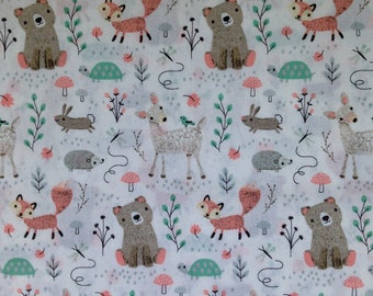 Custom Fitted Crib Sheet OR Pack N Play Sheet OR Changing Pad Cover White pink Brown Woodland Creatures