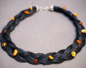Black linen necklace with yellow beads! 60 cm // 24 inches! HANDMADE LINEN NECKLACE!