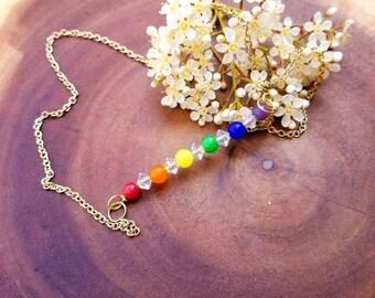 Pride/chakra/rainbow bar necklace