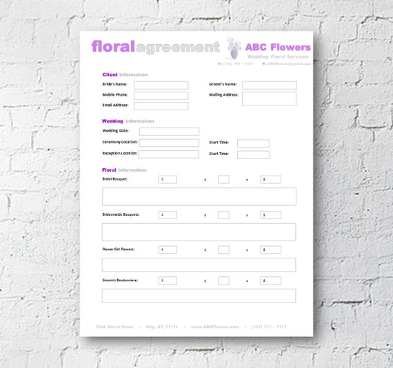 Floral Shop Bridal Agreement Contract Template Editable - Microsoft word invoice template mac online yarn stores