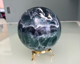 Crystal Ball, LARGE Rainbow Fluorite Crystal Ball, Gazing Sphere, Altar Tool, Home Decor