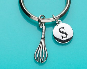 Whisk Keychain, Whisk Key Ring,  Kitchen Charm, Initial Keychain, Baker's Charm, Personalized Keychain, Custom Keychain, Charm Keychain, 377