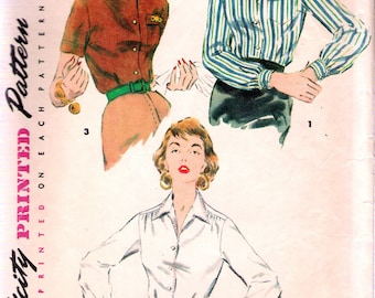 """Vintage 1954 Simplicity 4853 Shirt Blouses Sewing Pattern Size 12 Bust 30"""""""