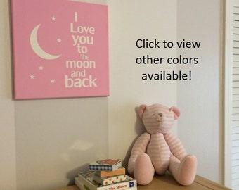 I Love you to the moon and back wall decor canvas nursery wall art decor baby girl nursery decor nursery decor nursery subway art baby