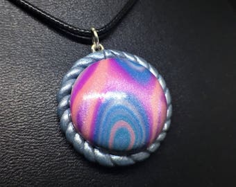 Simple Pastel Swirl Glitter Lolita Pendent Necklace, Polymer Clay, Sliver Ying Yan Bezel