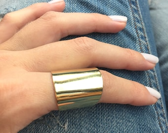 Gold ring, Tube ring, Statement ring, Wide band ring, Adjustable ring, Silver / Gold / Rose gold ring, Fashion accessories