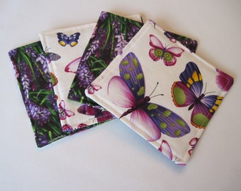 Purple Butterfly Coasters Reversible set 4 or 6 Purple Mug Rugs Lavender  Coasters Purple Mug Rugs Purple Table Decor