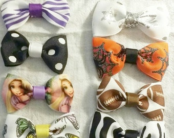 Tiny printed ribbon hair bows on alligator clips buy one or all