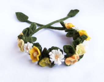 Flower crown flower headband necklace bracelet wrap Yellow poppy and daisy floral Bohemian Romantic wedding Woman Lady Multiuse 2016