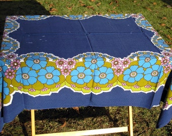 Vintage Tablecloth, Large Royal Blue Floral Cotton Tablecloth, Vintage Blue Purple Flowers Fabric, Mid Century Floral Fabric