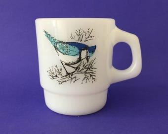 Vintage Fire King Song Birds Milk Glass Mug