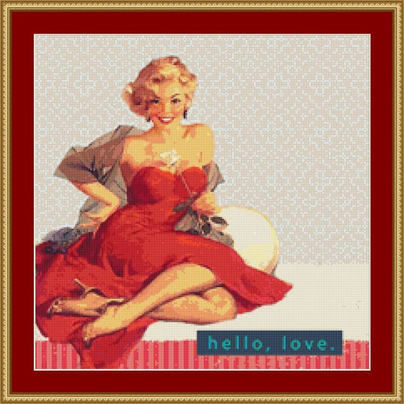 Hello Love Cross Stitch Pattern /Digital PDF Files /Instant downloadable