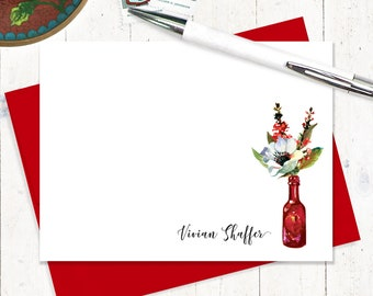 Personalized Note Card Set - watercolor floral - anemone flower - red vase - set of 12 flat cards - Watercolor Flowers in RED WINE BOTTLE