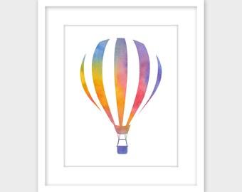 Hot Air Balloon Colorful Watercolor Art Print, Printable Wall Art, Instant Digital Download, Nursery Decor 8x10 11x14