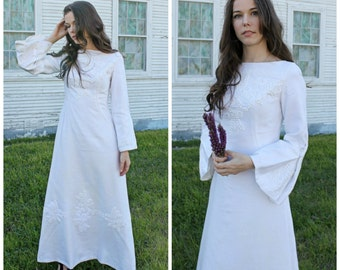 60s EMBROIDERED WEDDING Dress  Bell Sleeve A Line Bohemian Bride //  xs- small